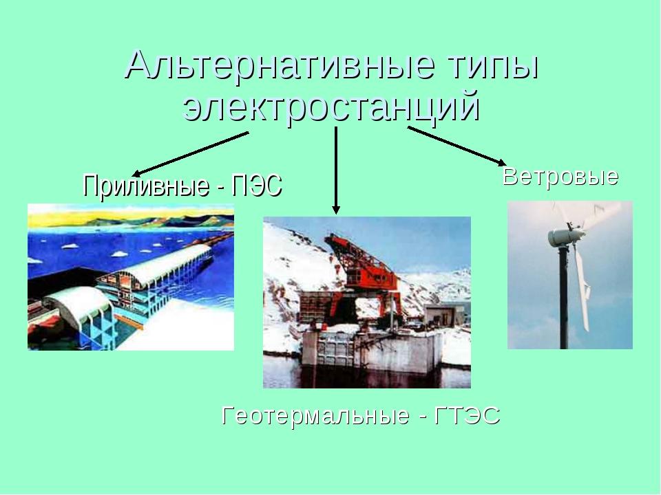 Альтернативные типы электростанций Приливные - ПЭС Геотермальные - ГТЭС Ветро...