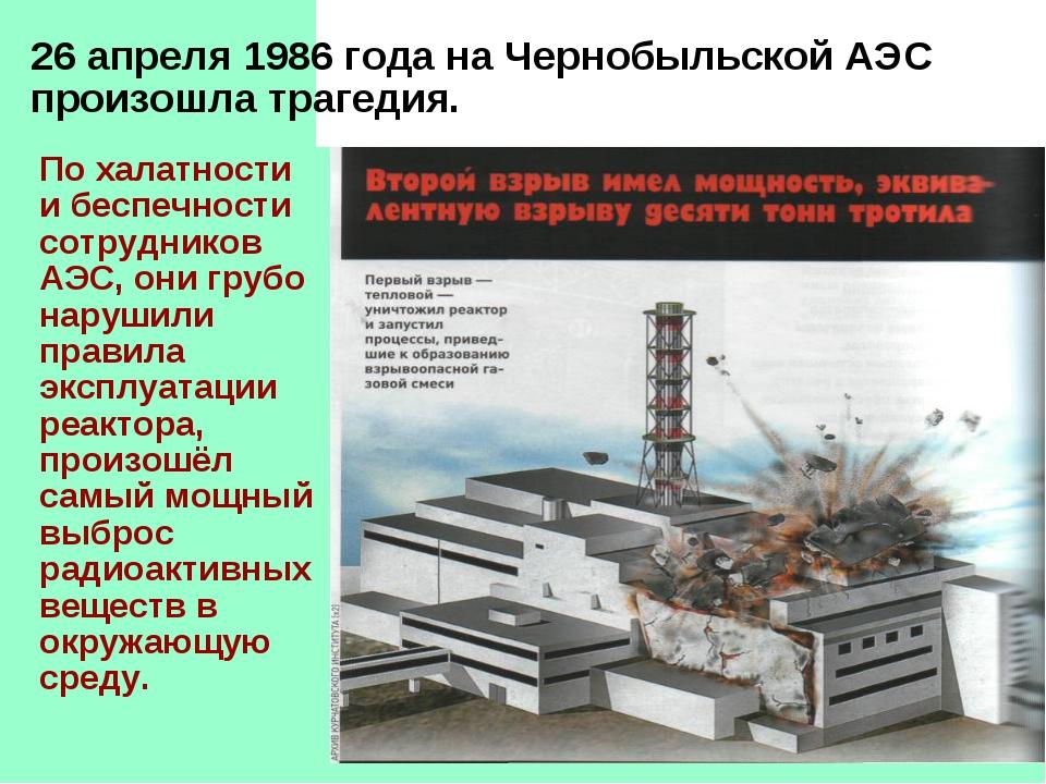 26 апреля 1986 года на Чернобыльской АЭС произошла трагедия. По халатности и...