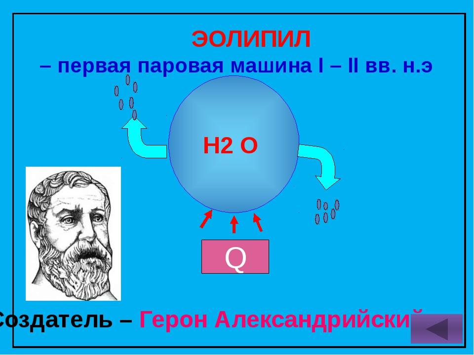 H2 O ЭОЛИПИЛ – первая паровая машина I – II вв. н.э Создатель – Герон Алексан...