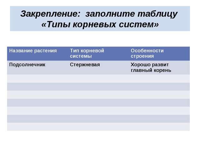 Закрепление: заполните таблицу «Типы корневых систем» Название растенияТип к...