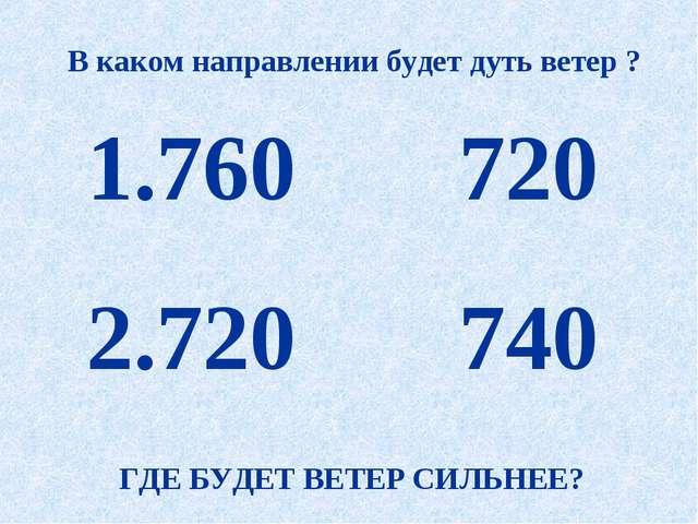 760 720 720 740 В каком направлении будет дуть ветер ? ГДЕ БУДЕТ ВЕТЕР СИЛЬН...