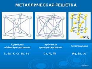 МЕТАЛЛИЧЕСКАЯ РЕШЁТКА Кубическая объёмноцентрированная Кубическая гранецентри