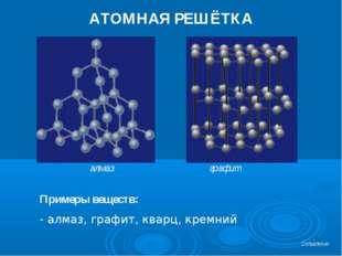 АТОМНАЯ РЕШЁТКА Примеры веществ: алмаз, графит, кварц, кремний алмаз графит О