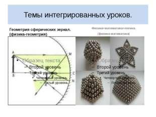 Темы интегрированных уроков. Геометрия сферических зеркал.(физика-геометрия)
