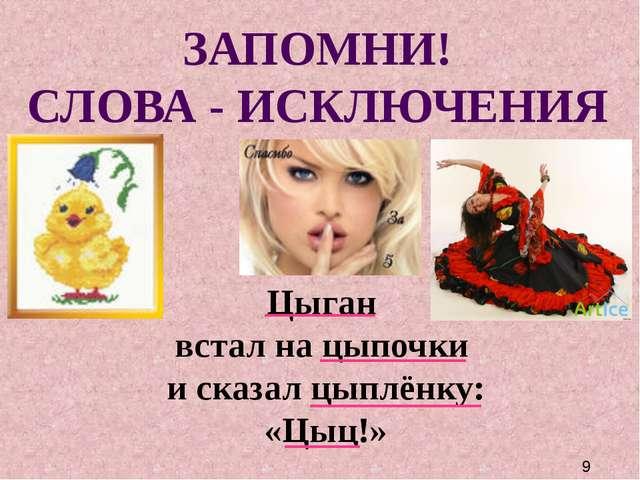 ЗАПОМНИ! СЛОВА - ИСКЛЮЧЕНИЯ Цыган встал на цыпочки и сказал цыплёнку: «Цыц!»
