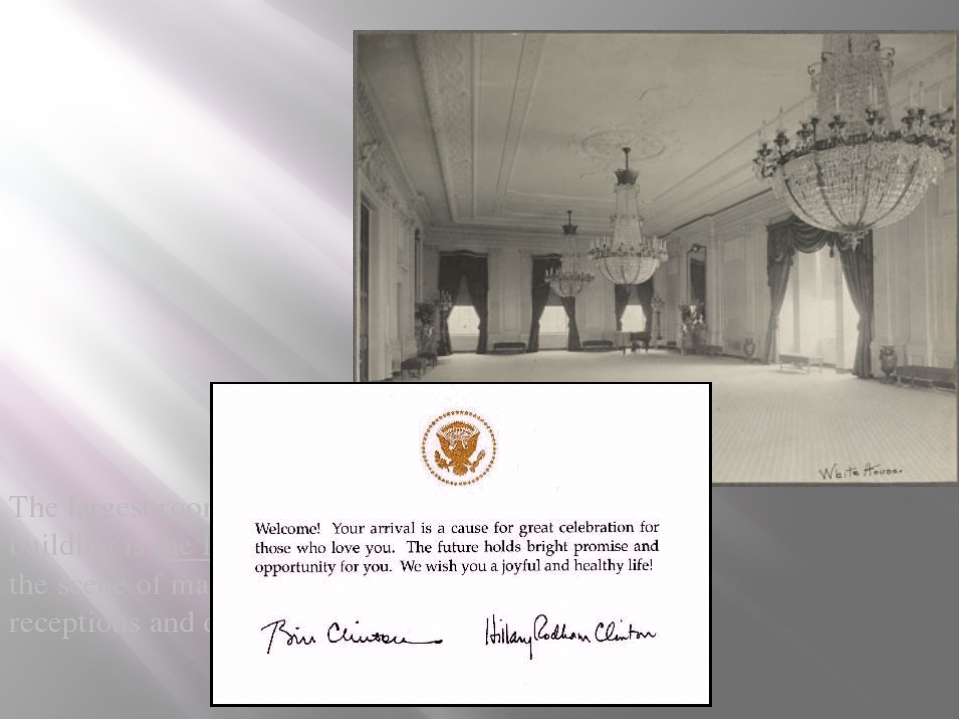 The largest room in this building is the East Room, the scene of many state...