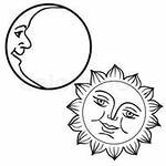 Луна и Солнце с лицами Векторный клипарт CLIPARTO