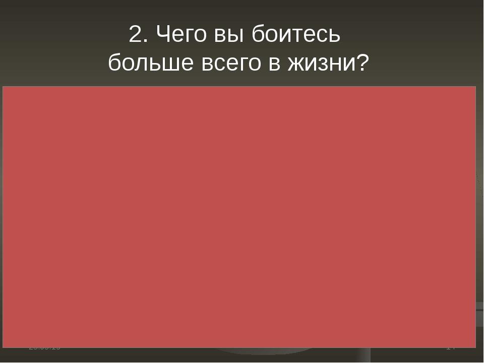 * * 2. Чего вы боитесь больше всего в жизни?
