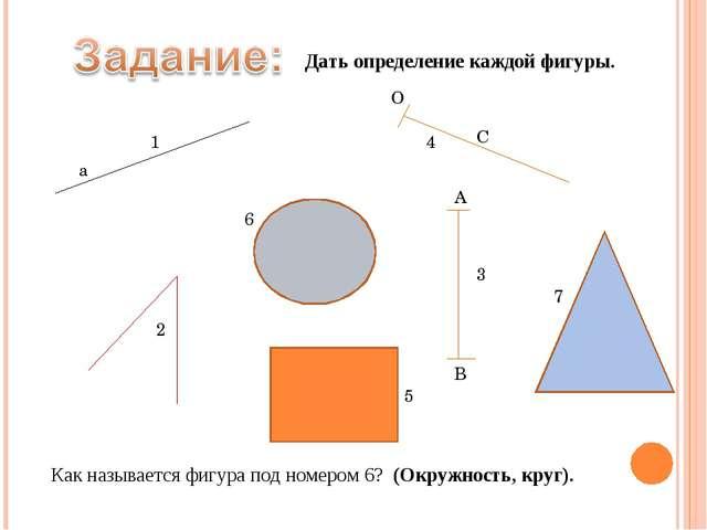 а 1 2 3 А В С О 4 5 6 7 Дать определение каждой фигуры. Как называется фигура...