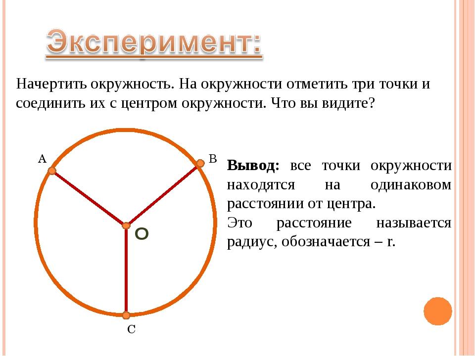Начертить окружность. На окружности отметить три точки и соединить их с центр...