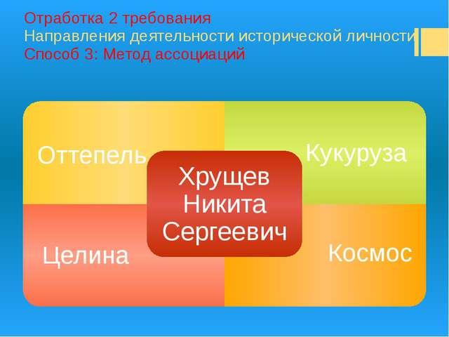 Отработка 2 требования Направления деятельности исторической личности Способ...