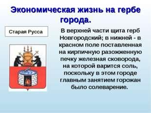 Экономическая жизнь на гербе города. В верхней части щита герб Новгородский;