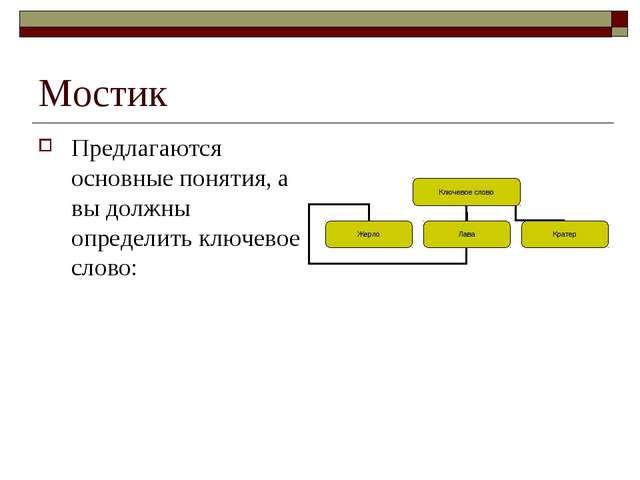 Мостик Предлагаются основные понятия, а вы должны определить ключевое слово: