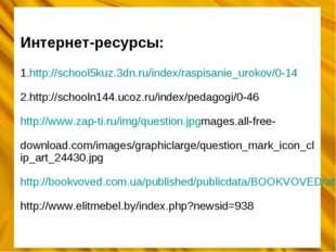 Интернет-ресурсы: 1.http://school5kuz.3dn.ru/index/raspisanie_urokov/0-14 2.h
