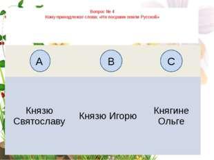 Вопрос № 4 Кому принадлежат слова: «Не посрами земли Русской» А B C Князю Свя