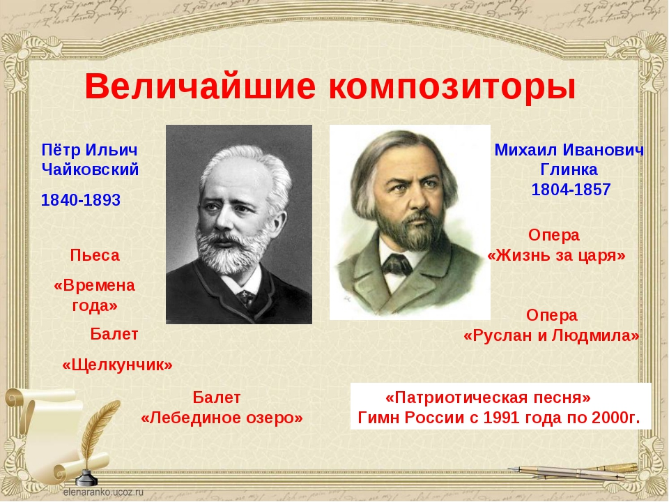 Величайшие композиторы Пётр Ильич Чайковский 1840-1893 Михаил Иванович Глинка...