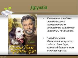 Дружба У человека и собаки складываются трогательные отношения взаимного уваж