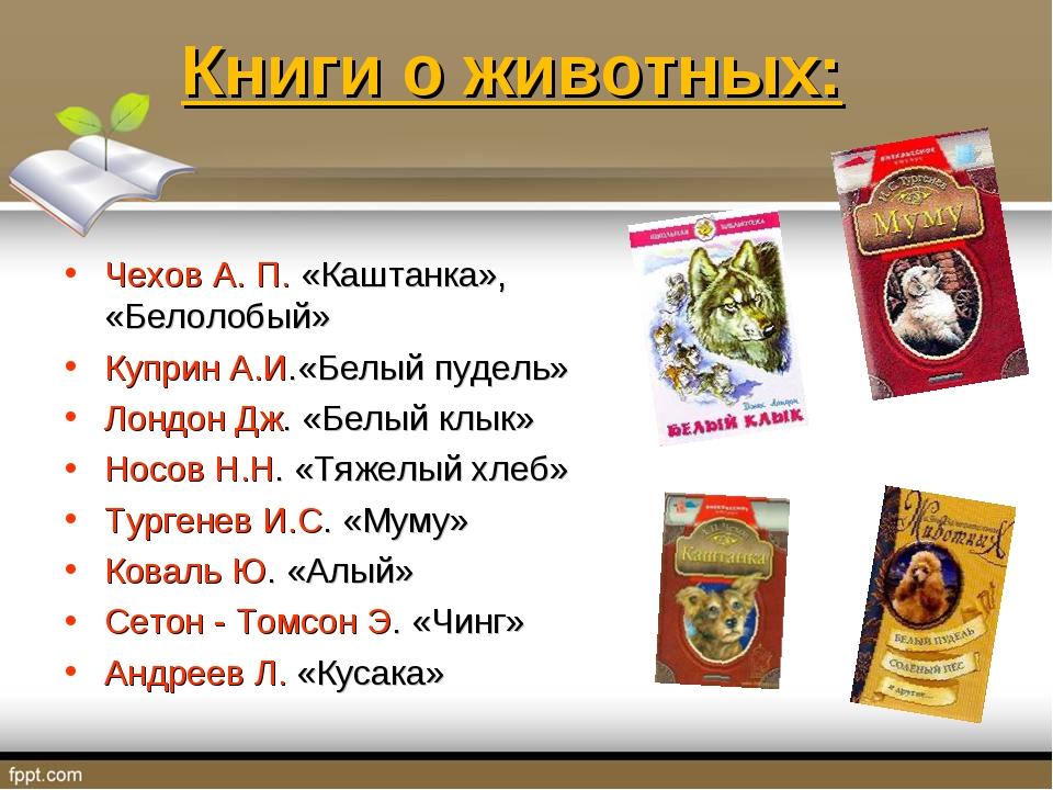 Книги о животных: Чехов А. П. «Каштанка», «Белолобый» Куприн А.И.«Белый пудел...