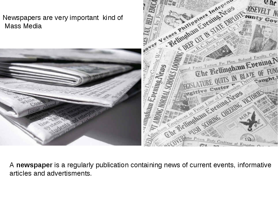 A newspaper is a regularly publication containing news of current events, inf...