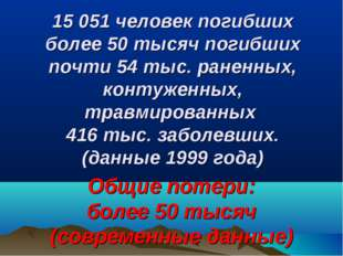 15 051 человек погибших более 50 тысяч погибших почти 54 тыс. раненных, конту