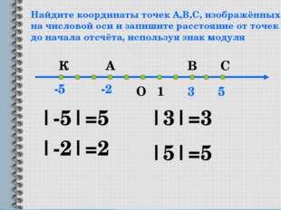 Найдите координаты точек А,В,С, изображённых на числовой оси и запишите расст