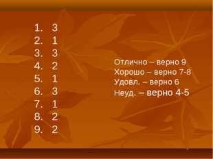 3 1 3 2 1 3 1 2 2 Отлично – верно 9 Хорошо – верно 7-8 Удовл. – верно 6 Неуд