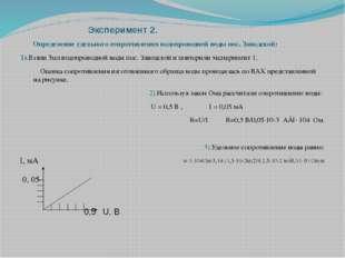 Эксперимент 2. Определение удельного сопротивления водопроводной воды пос. З