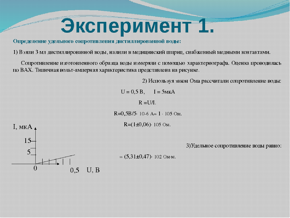 Эксперимент 1. Определение удельного сопротивления дистиллированной воды: 1)...