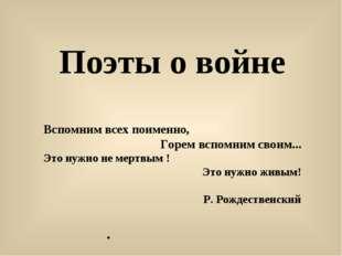 . Поэты о войне Вспомним всех поименно, Горем вспомним своим... Это нужно не