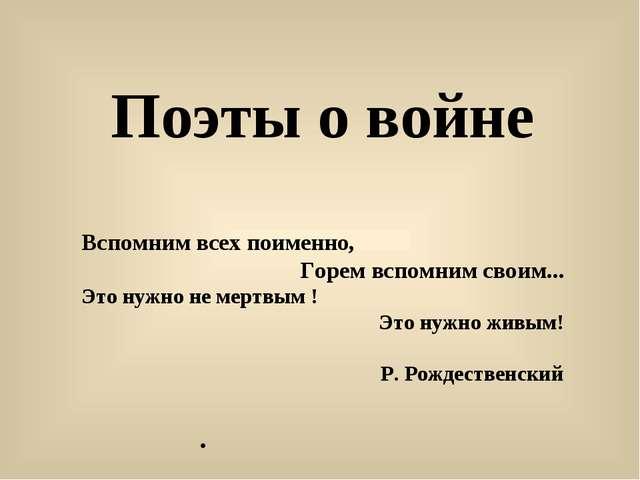 . Поэты о войне Вспомним всех поименно, Горем вспомним своим... Это нужно не...