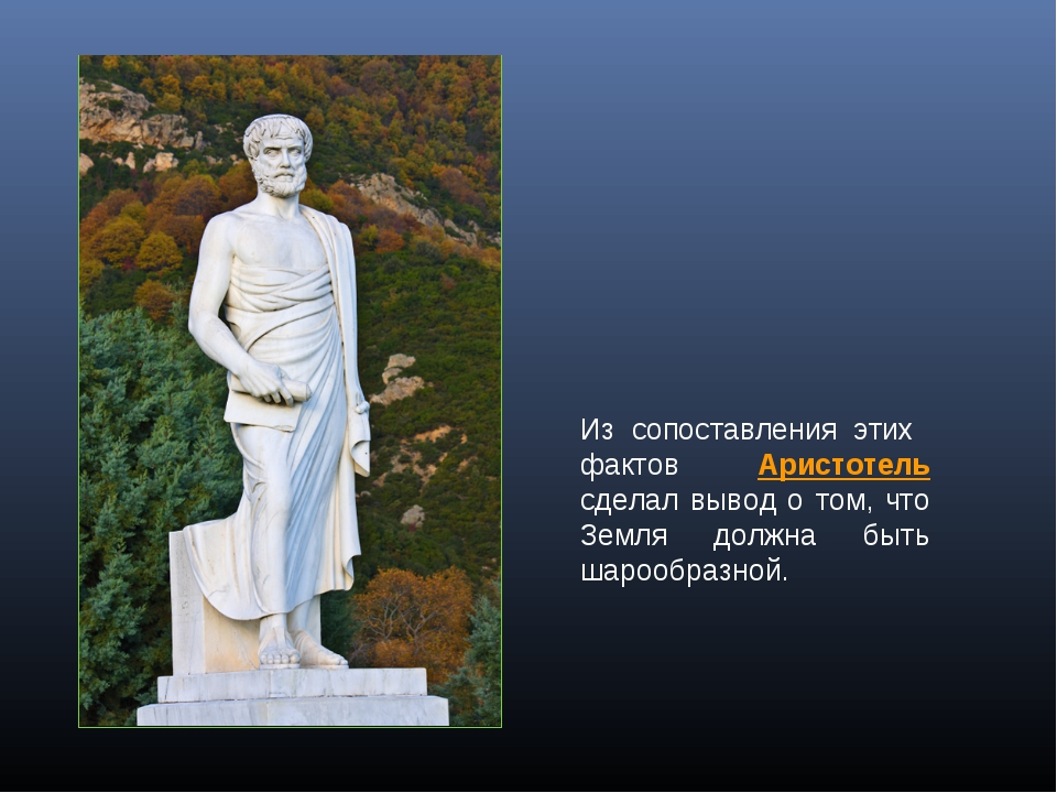 Из сопоставления этих фактов Аристотель сделал вывод о том, что Земля должна...