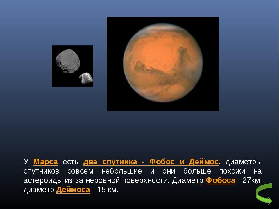 У Марса есть два спутника - Фобос и Деймос, диаметры спутников совсем небольш...