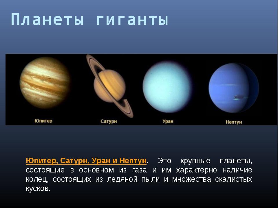 Юпитер,Сатурн,УраниНептун. Это крупные планеты, состоящие в основном из г...