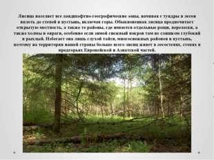 Лисица населяет все ландшафтно-географические зоны, начиная с тундры и лесов