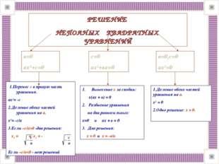 РЕШЕНИЕ НЕПОЛНЫХ КВАДРАТНЫХ УРАВНЕНИЙ в=0 ах2+с=0 с=0 ах2+вх=0 в=0,с=0 ах2=0