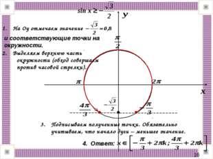 * На Оу отмечаем значение и соответствующие точки на окружности. Выделяем вер