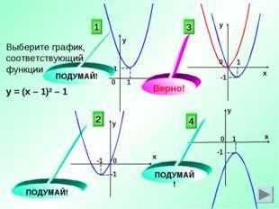 Выберите график, соответствующий функции у = (х – 1)2 – 1 3 4 2 ПОДУМАЙ! ПОДУ