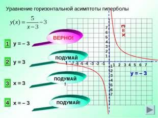 Уравнение горизонтальной асимптоты гиперболы 1 2 3 4 у = – 3 ПОДУМАЙ! ПОДУМАЙ