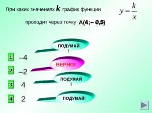 – 0,5 4 А(4;– 0,5) –2 2 1 3 4 При каких значениях k график функции проходит ч