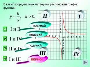 В каких координатных четвертях расположен график функции 4 2 1 3 ПОДУМАЙ! ПОД