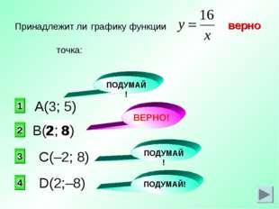 8 2 верно 2 1 3 4 Принадлежит ли графику функции точка: А(3; 5) С(–2; 8) D(2;