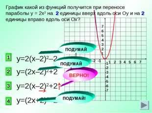 у=(2х–2)2+2 3 2 1 4 График какой из функций получится при переносе параболы у