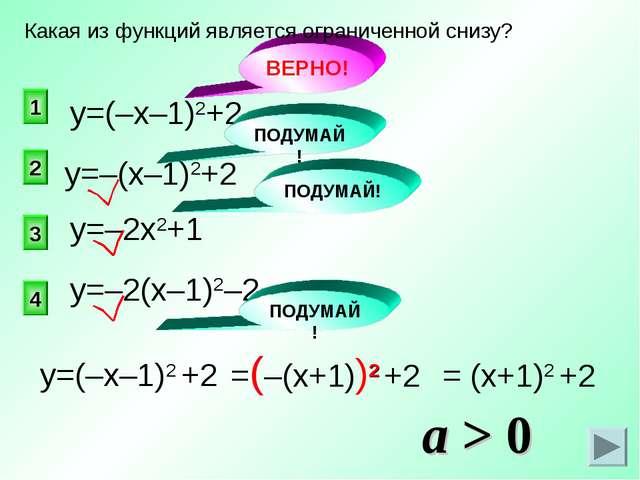 ВЕРНО! 1 2 4 3 Какая из функций является ограниченной снизу? у=(–х–1)2+2 у=–2...