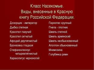Класс Насекомые. Виды, внесенные в Красную книгу Российской Федерации. Дозорщ