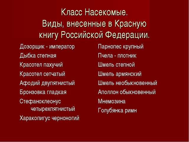 Класс Насекомые. Виды, внесенные в Красную книгу Российской Федерации. Дозорщ...