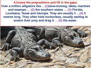 4.Guess the prepositions and fill in the gaps. Over a million alligators live
