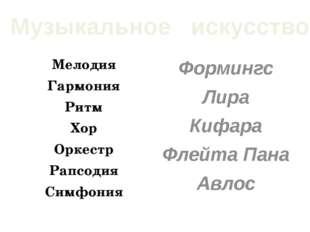 Мелодия Гармония Ритм Хор Оркестр Рапсодия Симфония Формингс Лира Кифара Флей
