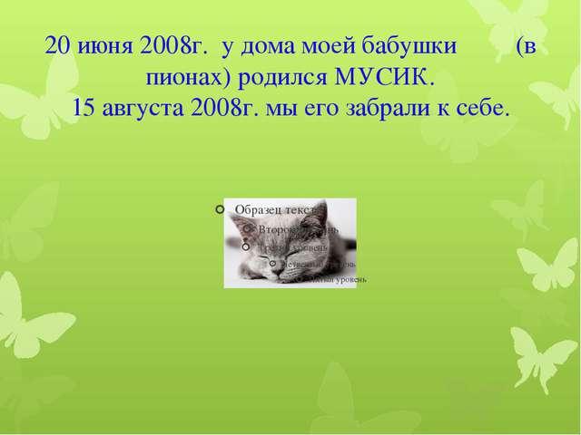 20 июня 2008г. у дома моей бабушки (в пионах) родился МУСИК. 15 августа 2008г...