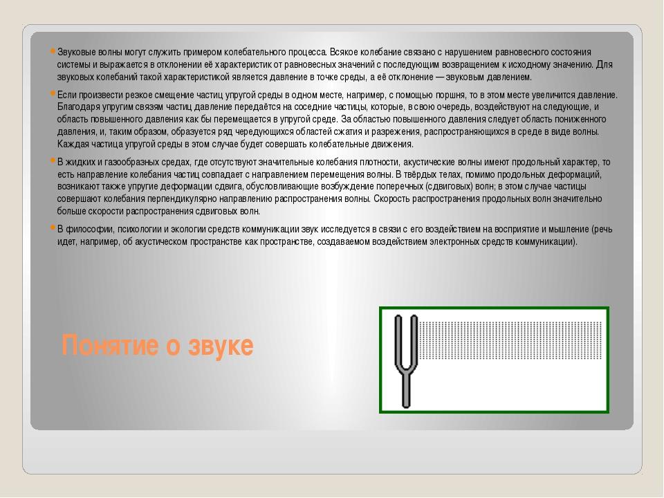 Понятие о звуке Звуковые волны могут служить примером колебательного процесса...