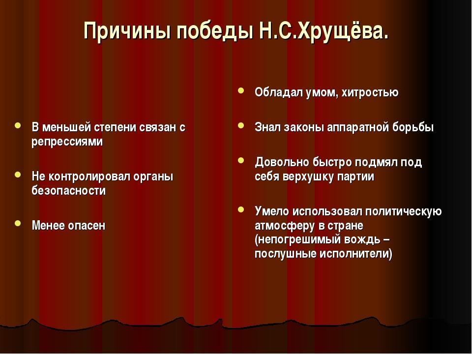 Причины победы Н.С.Хрущёва. В меньшей степени связан с репрессиями Не контрол...